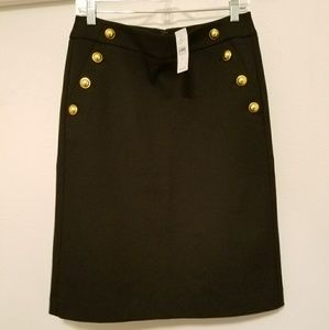 NWT LOFT Pencil Skirt with Gold Buttons